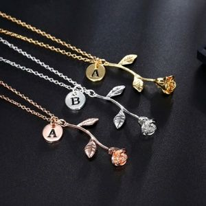 Initial Charm Beauty & Beast Rose Gold Necklace